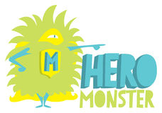 Cute furry hero monster standing Royalty Free Stock Images