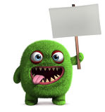 Cute furry monster holding placard Stock Photo