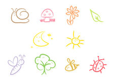 Cute Garden Critters. Collection of colorful kid-style drawing relating to everything garden - includes are snail, mushroom, flower, leaf, butterfly Royalty Free Stock Image