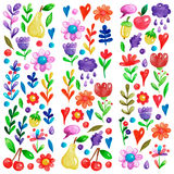 Cute garden flower and plants with fruits and berries For invitation, kindergarten, wedding invitations, nursery Royalty Free Stock Image