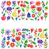 Cute garden flower and plants with fruits and berries For invitation, kindergarten, wedding invitations, nursery Royalty Free Stock Photos