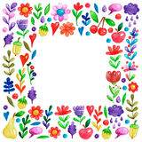 Cute garden flower and plants with fruits and berries For invitation, kindergarten, wedding invitations, nursery Stock Image