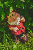 Cute garden gnome model stock images