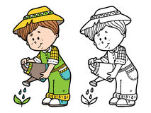 Cute gardener coloring page. Royalty Free Stock Photo