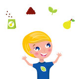 Cute gardener jugglery - green plant icons. Happy blond boy with fruit and plant icons isolated on white. Vector Illustration Stock Images