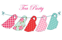 Cute garland of tea cups as retro applique for tea party. Invitation Stock Photos