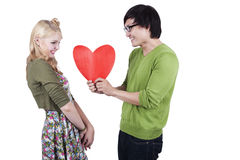 Cute geek couple isolated on white Stock Photo