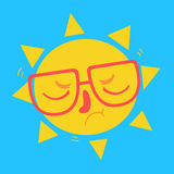 Cute Geek Sun Disappointed Royalty Free Stock Photography