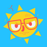 Cute Geek Sun Looking Angry Stock Photography