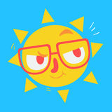 Cute Geek Sun Thinking Royalty Free Stock Photography