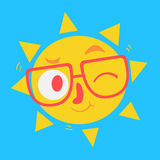 Cute Geek Sun Winking Royalty Free Stock Photography