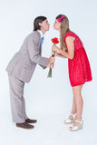 Cute geeky couple kissing Royalty Free Stock Photography