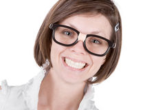Cute Geeky Female with a Big Cheesy Grin Stock Photo