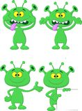 Cute geen alien cartoon collection set Royalty Free Stock Photo