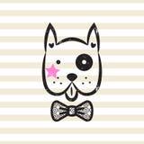 Cute gentleman dog tshirt design vector. Puppy head textured with bow tie on stripe background vector illustration