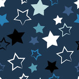 Cute  geometric seamless pattern. Brush strokes and stars. Hand drawn grunge texture. Abstract forms. Endless texture can be Royalty Free Stock Photos