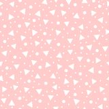 Cute geometric seamless pattern drawn by hand. White geometric shapes on pink background. Endless vector illustrations for children Royalty Free Stock Image