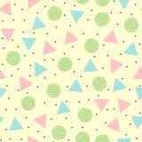 Cute geometric seamless pattern. Round and triangular colored shapes. Drawn by hand. Yellow, black, pink, blue, green, white. Vector illustration Stock Images