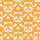 Cute geometrical foxes seamless pattern background Royalty Free Stock Image