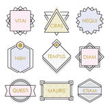 Cute geometrical line vintage emblems and labels set on white. Background royalty free illustration