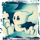 Cute ghost on cemetery stock illustration