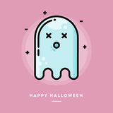 Cute ghost, flat design thin line halloween banner Royalty Free Stock Images