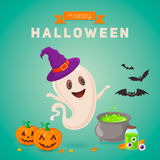 Cute ghost making potion. Royalty Free Stock Images