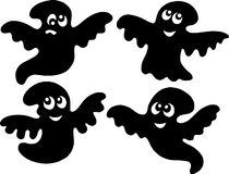 Cute ghost silhouettes Royalty Free Stock Image