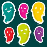 Cute ghost stickers Royalty Free Stock Images