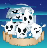 Cute ghosts on a background of the night sky with moon and old paper Stock Photography