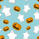 Cute ghosts and jack o lanterns seamless Royalty Free Stock Images