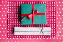 Cute gift for beloved people on pink background. Bright present wrapping. great surprise for birthday, fathers day, valentines day, new year, christmas Stock Photography