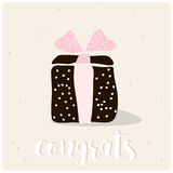 Cute gift box with text Congrats wish. Greeting card template. Creative happy birthday background. Vector Illustration. Stock Photos