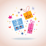 Cute gift characters Royalty Free Stock Image