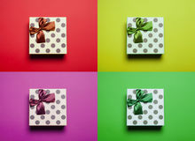 Cute gift on the colorful background in pop art style. Photo of cute gift on the colorful background in pop art style Stock Image