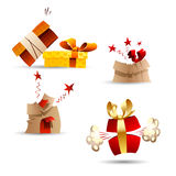 Cute Gift Icons, Vector Cartoons, Comic Elements Stock Photo