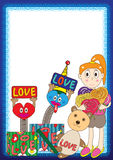 Girl Toys Frame_eps Stock Images
