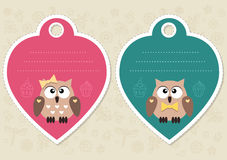 Cute gift tags with little owls Royalty Free Stock Photography