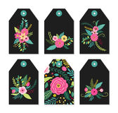 Cute gift tags set with rustic hand drawn spring flowers Royalty Free Stock Image