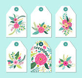 Cute gift tags set with rustic hand drawn spring flowers Stock Photography