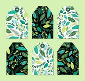 Cute gift tags set with rustic hand drawn spring green leaves patterns. For your decoration Stock Photo