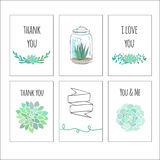 Cute gift tags with succulents. Set of cute decorative cards with cactuses and succulents Royalty Free Stock Photography
