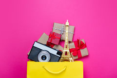 Cute gifts, camera and beautiful eiffel tower shaped toy in shop Royalty Free Stock Images