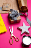 Cute gifts, star shaped toy, shopping bag, alarm clock and thing Stock Image