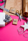 Cute gifts, star shaped toy, shopping bag and things for wrappin Royalty Free Stock Image