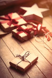 Cute gifts, star shaped toy and things for wrapping on the wonde Stock Image