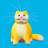 Cute ginger cat. Funny cheerful 3d illustration. Royalty Free Stock Image