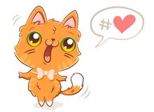 Cute ginger cat. Vector illustration of a cute ginger cat in kawaii style. Cute kitty and bubble with heart Stock Photos