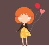 Cute Ginger Girl With Balloons Stock Photos