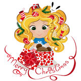 Cute ginger girl with Christmas presents. New Year background. Greeting Card design. Cute ginger girl with Christmas presents. New Year background. Greeting Card Stock Image